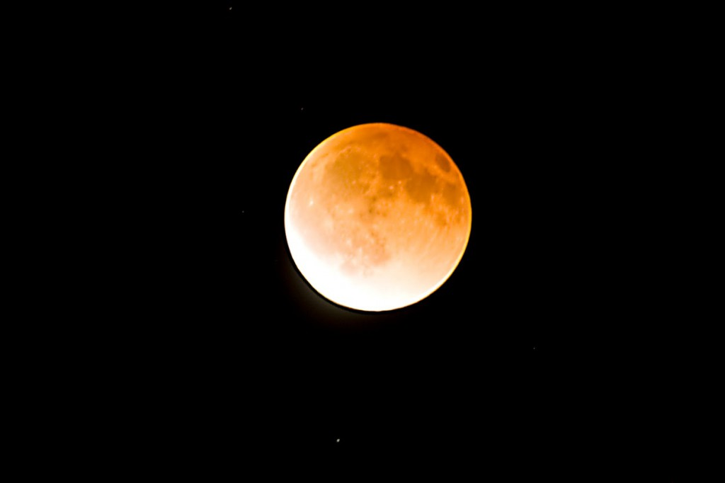 Lunar Eclipse Emerging out of total